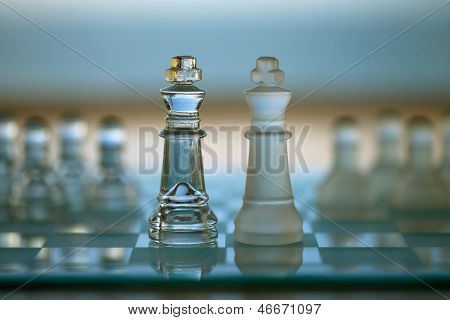 Chess Kings - Business Concept of Merger / Competition / Confrontation.