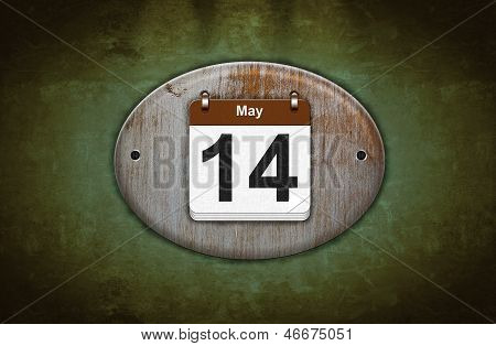 Old Wooden Calendar With May 14.