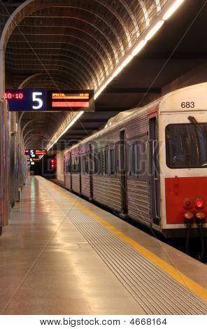 Train In Underground Station