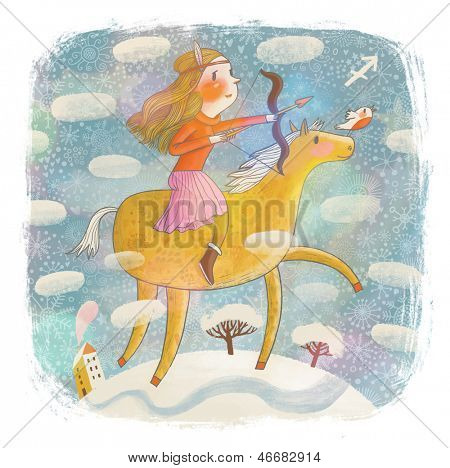 Zodiac sign - Sagittarius. Part of a large colorful cartoon calendar. Sweet girl on horse with bow on snow field.