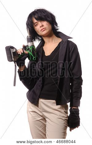 Sexy worker with battery drill in black casual clothing, isolated on white