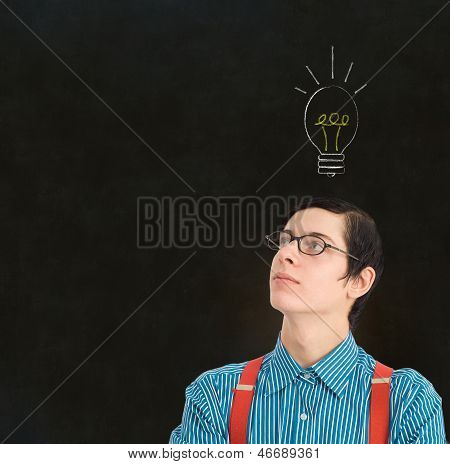 Nerd Geek Businessman Student Teacher Chalk Lightbulb