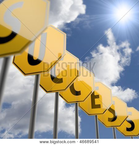 Success Letters And Word On Road Sign Yellow