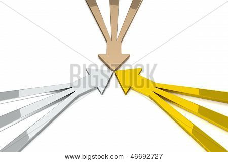 3D Arrows - Gold / Silver / Bronze
