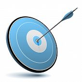 One arrow hit the center of a blue target. Realistic vector image suitable for business or marketing logo. poster