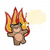 burning teddy bear cartoon poster