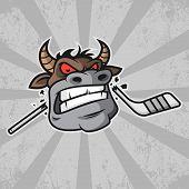 Illustration, bull bites hockey stick, format EPS 8 poster
