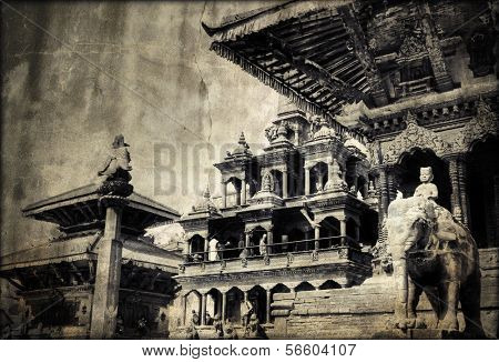 Vintage retro picture of Lalitpur (Patan) in Nepal. Traditional building exterior at Durbar Square.  poster