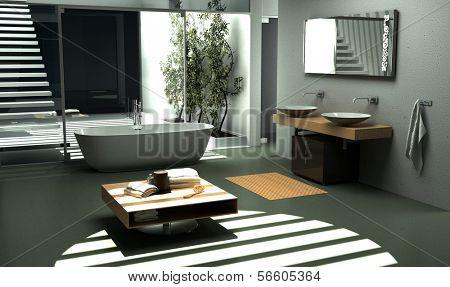 Moderne Industrie-Design-Badezimmer mit schönen hellen Ambiente