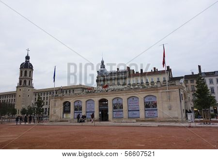 Only Lyon Tourist Information office and Bell tower of Charity at the Place Bellecour in Lyon