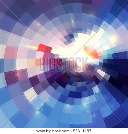 Abstract violet shining circle tunnel lined vector background poster