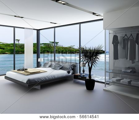 Ultramodern bedroom interior with grey bed against panorama windows with seascape view