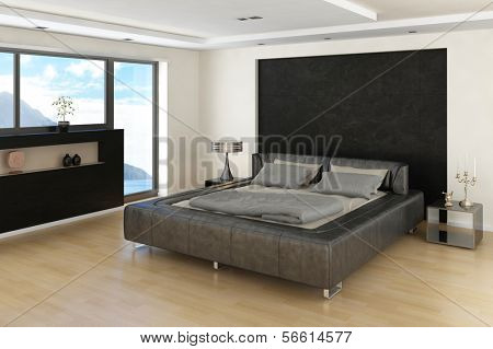 Modern Bedroom Interior with grey bed with bedsheets and huge window with sideboard in front