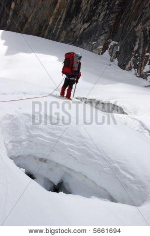 Climber Looking For A Pass Between Crevices, Himalayas