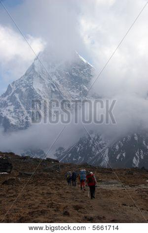 Trekkers In Himalayas, Nepal