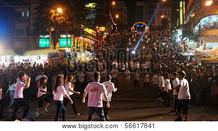 Lifestyle Of Young People, Dance Team At Outdoor Night