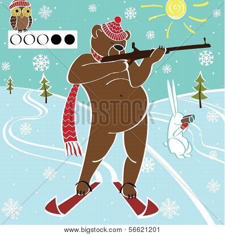 Brown Bear Biathlete Takes Aim.Vector humorous Illustration.