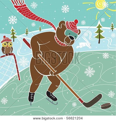 One brown bear hockey in nature. Humorous illustration poster