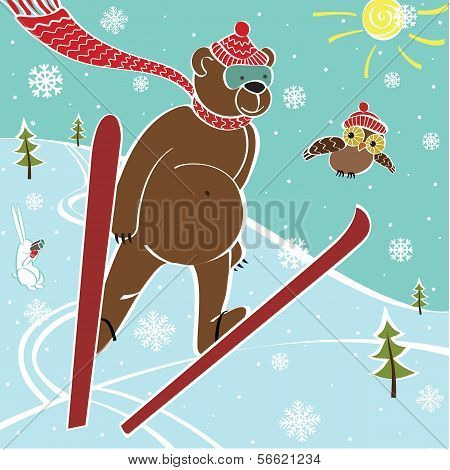 One brown bear scarf and hat ski jumping. Humorous illustration poster