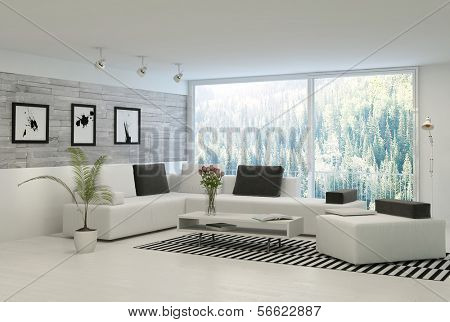 Modern living room with huge windows and stone wall