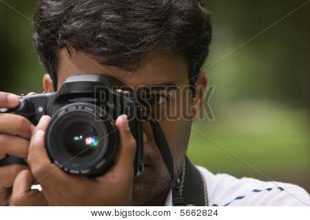 Close-up of Photographer