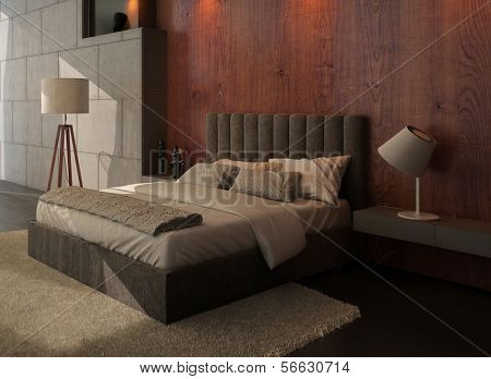 Modern design bedroom interior with king-size bed and wooden wall