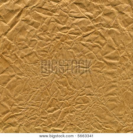 Old Crupled Brown Paper Bag Close Up Texture Background.