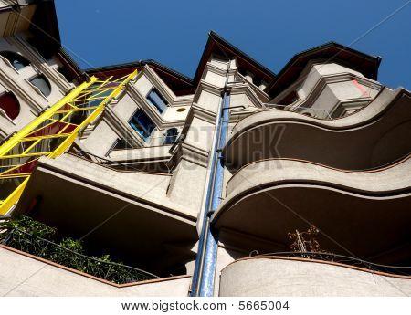 Eccentric facade of a building