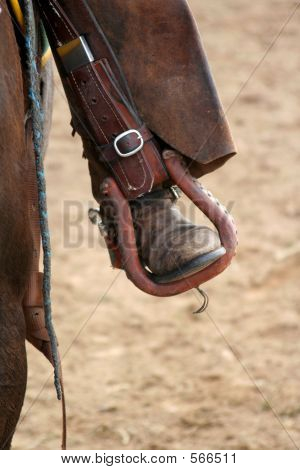 Rodeo Rider's Foot In Stirrup