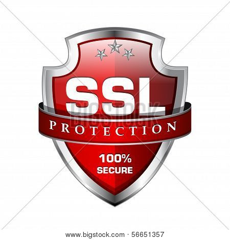 SSL Protection Secure Shield Vector Icon Design poster