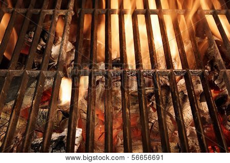 Hot Barbecue Grate And Glowing Charcoal Xxxl