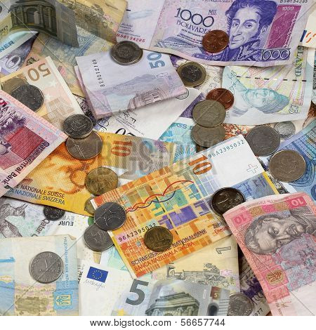 Banknotes and coins like Euro Dollar Swiss Franc Pound and Rubel donation poster
