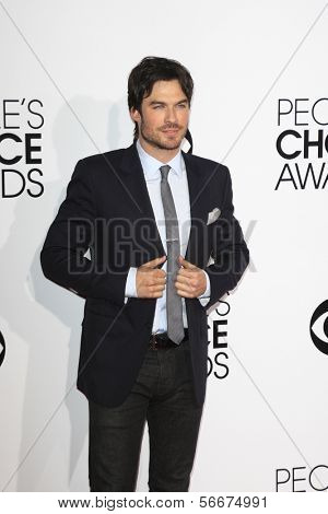 LOS ANGELES - JAN 8:  Ian Somerhalder at the People's Choice Awards 2014 Arrivals at Nokia Theater at LA LIve on January 8, 2014 in Los Angeles, CA