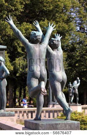 Gustav Vigeland Sculptures In Frogner Park. Oslo, Norway