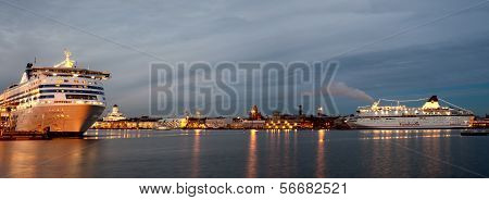 Helsinki, Finland-december 14: Silja Line And Viking Line Ferries In Port Of The City Of Helsinki