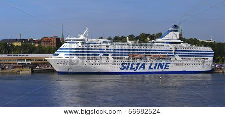 Helsinki, Finland-june 26: The Ferry Silja Line Is Moored At The Mooring In The City Of Helsinki