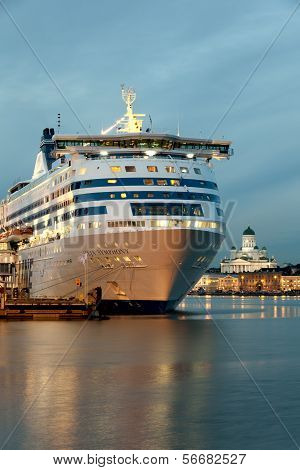 Helsinki, Finland-december 14: The Silja Line Ferry At The Mooring In The City Of Helsinki