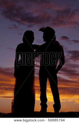 Cowboy Couple Stand Silhouette Look At Each Other
