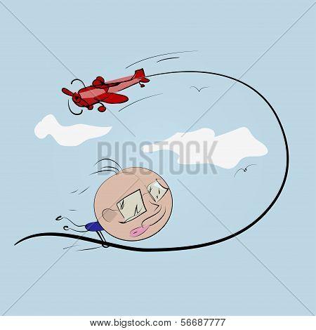 Freddie flying aircraft