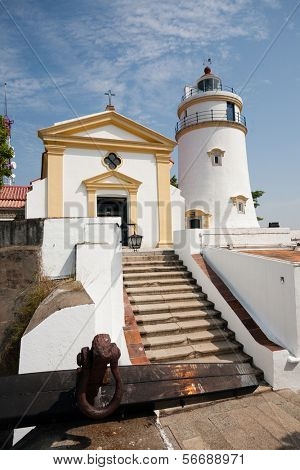 Guia Lighthouse, Fortress and Chapel in Macau. China.