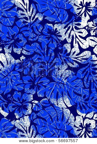 Blue Tropical Ferns And Hibiscus2.eps