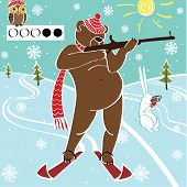 One brown bear biathlete taking aim with a rifle. Humorous illustration. poster