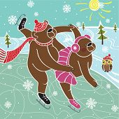 Two brown bear are skating in pairs on the nature. Winter landscape. Humorous illustration. poster