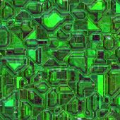 Green colored integrated circuit board closeup view poster