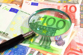 Magnifying glass over Euros