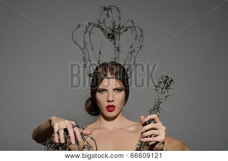 Woman With Symbols Power Of Barbed Wire
