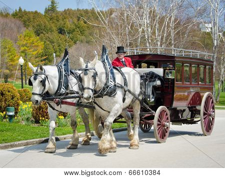 Horse drawn carriage on Mackinac Island in Northern Michigan