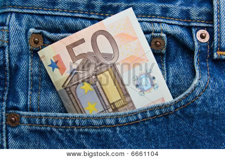 50 Euro Note In A Blue Jeans Pocket