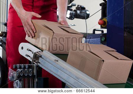 Worker Putting A Box On Conveyor Belt