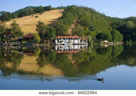 Ovcar Lake quiet landscape, Serbia poster